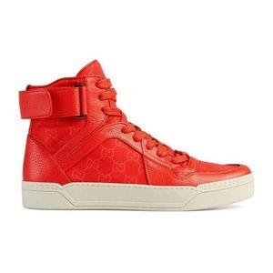 Gucci Dusk Red Basketball High Top Sneakers 409766